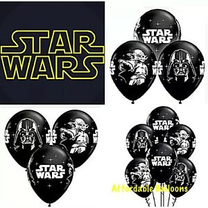 """Set Of 5 X 12"""" Star Wars Printed Latex Birthday Party Balloons Decoration"""