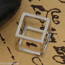 10 Pendentifs Breloques Charms 3D Creux Cube Accessoire Pr Bijoux 12x12mm