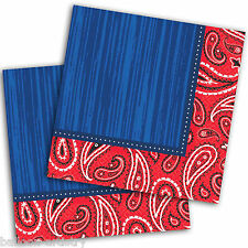 16 Wild West Bandana Western Party 33cm Disposable Paper Luncheon Napkins