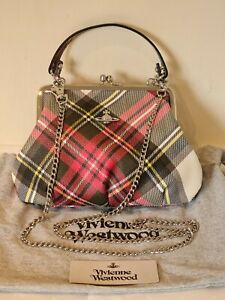 Vivienne Westwood New Exhibition Tartan shoulder bag with hand strap and chain