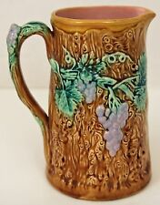"LARGE STAFFORDSHIRE MAJOLICA GRAPEVINE 5 1/2 CUP PITCHER 7 1/2"" Blue Brown Pink"