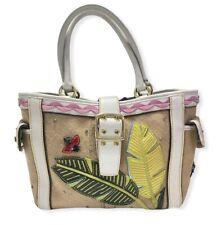 Coach Limited Edition Burlap Straw Leather Ladybug and Leaves Handbag Tote