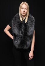 Genuine Saga Furs Rare Black Ice(Gray) Silver Fox Handmade Stole Wrap Boa Collar