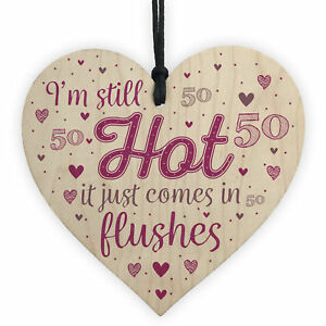 Funny 50th Birthday Gifts For Women Fifty Party Wood Heart Card Friendship Gift