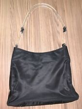 Prada Bag, Black Nylon With Plastic Transparent Handles, Rare, Vintage