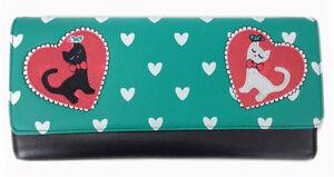 Banned Apparel Cat Lovers Retro Clutch Evening Handbag Rockabilly 50s Style