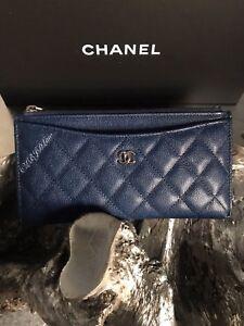 CHANEL 19C Navy Blue Caviar Long Wallet O-Case Slim Phone Pouch NWT Gold HW NIB