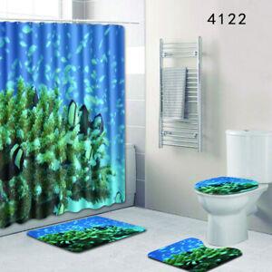 Ocean Sea Animal Dolphin Shark Bathroom Shower Curtain Waterproof Rug Mat Set