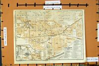 Old Antique Print Map 1914 Germany Street Plan Karlsruhe Schloss Garten 20th