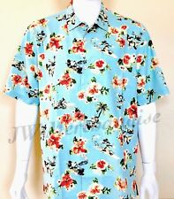 New Disney Parks TOMMY BAHAMA Mens Mickey Floral Hawaiian Silk Camp Shirt LARGE