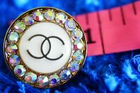 100% Chanel button 1 pieces  cc logo 0,8 inch 22 mm  💔 gold & white stamped