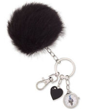 DreamWorks Trolls NWT Faux Fur Black Pom Pom Keychain Watch Charm Purse Puff NIB
