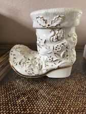 MIKASA HOLIDAY ELEGANCE FINE PORCELAIN CHRISTMAS BOOT COOKIE JAR WHITE GOLD