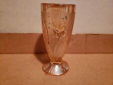 Vintage Carnival Glass Vase Amber Floral Design Round Shape #5