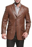 New Men's Genuine Lambskin Leather Blazer Jacket TWO BUTTON Leather Coat 28