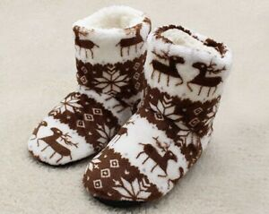 BOOTIE WOMENS INDOOR BOW WARM WINTER SLIPPERS SHOES ANKLE LADIES SIZE 3-8 BOOTS