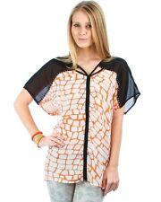 Orange/Black Animal Print Chiffon Blouse w/Front Zipper. Plus Size 1XL & 2XL.
