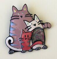 Unique three Cats brooch enamel on metal
