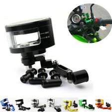 CNC Black Motorcycle Brake Fluid Oil Reservoir Cup Tank + Support Bracket