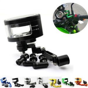 CNC Black Motorcycle Brake Fluid Oil Reservoir Cup Tank + Support Bracket