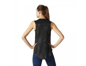 adidas Women's Sports ID Sleeveless Black Top Running Gym Yoga S97192