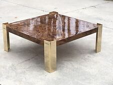 Mid Century Modern Brass And Burlwood Coffee Table In Style Of Milo Baughman