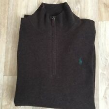 RALPH LAUREN ZIP NECK JUMPER BROWN SIZE L MARINO WOOL NEW WITH TAG RRP£135.00