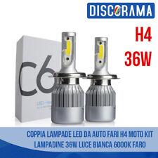 LED AUTO LAMPADE FARI COPPIA H4 C6 MOTO KIT LAMPADINE 36W LUCE BIANCA 6000K FARO