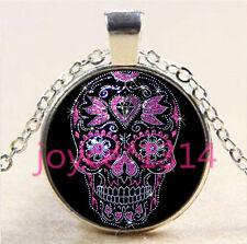 Sugar Flower Skull Cabochon Tibetan silver Glass Chain Pendant Necklace#5918