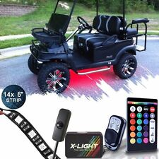 14pcs 18 COLOR LED UNDER GLOW GOLF CART LIGHT KIT NEON w Power Switch Brake Mode