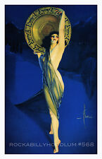Pin Up Girl Poster 11x17 exotic flapper maiden dame art deco dancer muse