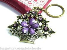 Vintage Antique Bronze Flower Purple Rhinestone Keyring Charm Handbag Keychain