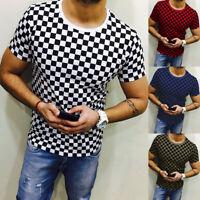 Mens Short Sleeve Round Neck Check Plaid T-Shirt Summer Casual Tee Shirts Tops