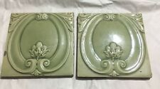 Vintage Ceramic Beautiful Green Porcelain Tiles  2 Pieces