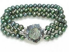 3 Rows Genuine Black Pearl White Gold Plated Shell Flower Clasp Bracelet