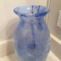 "Blue Swirl - Art Glass Vase  - Lux Vetreria Operaia of Italy - 12"" Tall"