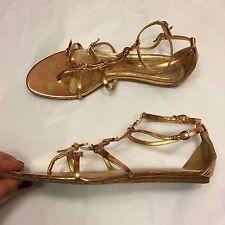 ALEXANDER McQUEEN rose gold metallic leather gladiator flats sandals 37 UK 4