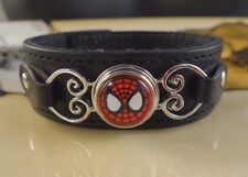 SPIDERMAN snap button black genuine leather gifts for women bracelet