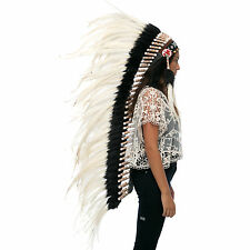 Extra Long Native American Indian style Feather Headdress - White Rooster