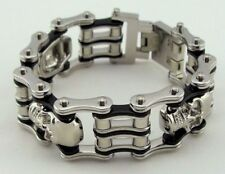 Mens Stainless Steel Skulls Motorcycle Bike Chain Biker Bracelet Silver-Black