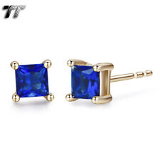 TT 5mm 18K Gold Plated Royal Blue CZ Square Stud Earrings (ES02F) NEW