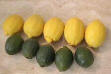 VINTAGE Lot of Decorative LIFELIKE  Lemons & Limes Kitchen Decor SOLID RESIN