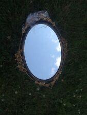 Antique 1920 Oval Mirror Metal Laurel & Roses Trim