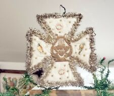 Large Cross. Early 1880s Pennsylvania Home-made Ornament. Cotton, Paper, Tinsel