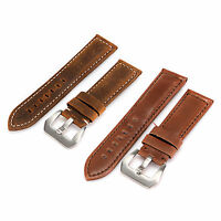 Hot 20/22/24mm Genuine Leather Watch Strap Band Twister Stainless Steel Buckle