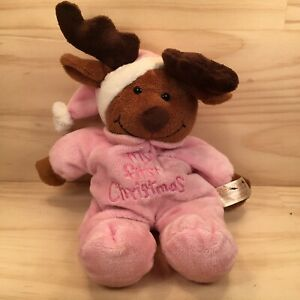 "MY FIRST CHRISTMAS ""Pink"" Sweet Christmas Reindeer Plush Animal Festive Soft Toy"