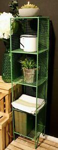 Narrow Metal Storage Shelf Unit 4 Tier Tall Square Free Standing Shelves Green