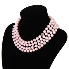 Victoria Boho Glass Pearl Beads Multilayer Long Chain Necklace Wedding Pink