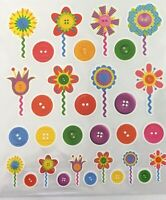 Buttons & Flowers Patterned Stickers Stickers Planner Papercraft Party Invites