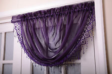 VOILE NET CURTAIN SWAGS WITH MACRAME FRINGING